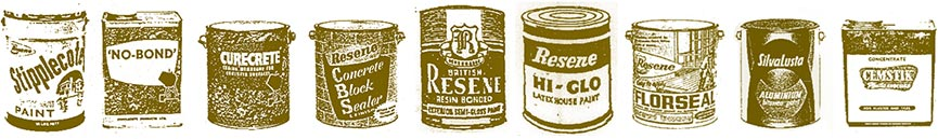 Early Resene products - product drawings