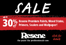 Get up to 30% off Resene paints and wallpapers!