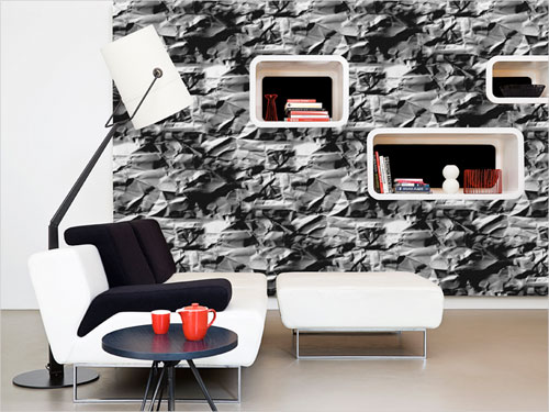 A natural realism and 3D effect stone wall wallpaper