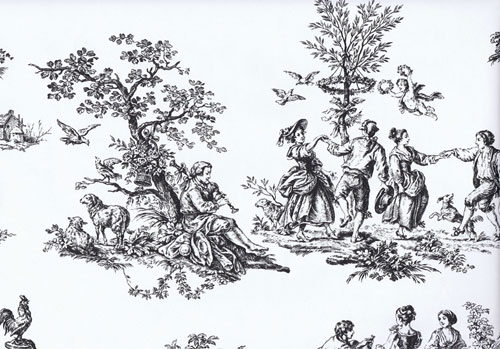 Toile de jouy designs depicting scenes from 18th century rural settings
