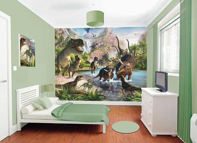 Dinosaur Wall Mural In Bedroom Photo