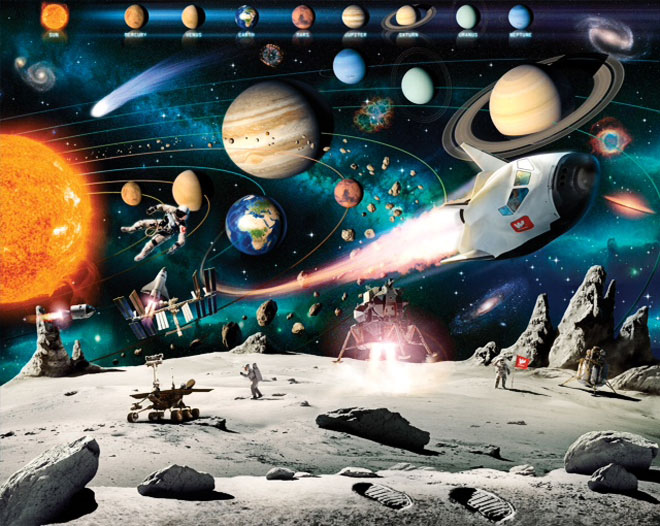 Space Adventure Mural For A Child S Bedroom Walltastic