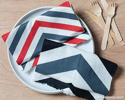 Paint striped napkins